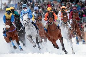 Seven horses and jockeys racing in the snow