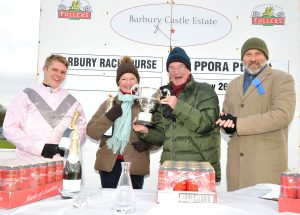 Sam Jukes and the winning team from Barbury Mixed Open Race